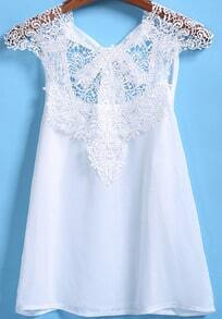White Cap Sleeve Sheer Lace Loose Blouse