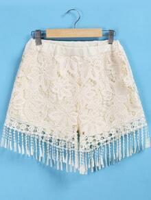 Apricot Elastic Waist Lace Tassel Shorts