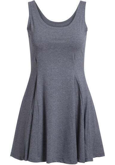 Grey Sleeveless Pleated Modal Dress