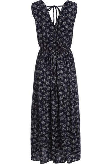 Blue V Neck Sleeveless Floral Pleated Dress