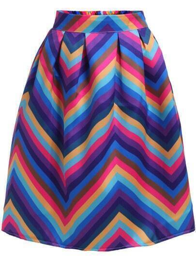 Multicolor Geometric Print Flare Skirt