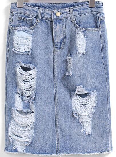 Blue Ripped Straight Denim Skirt