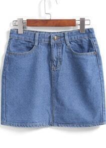 Blue Pockets Bodycon Denim Skirt