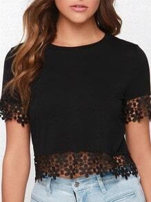 Black Short Sleeve Crochet Lace Crop blouse