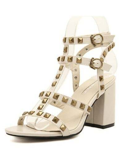 Beige With Rivet Buckle Strap High Heeled Sandals