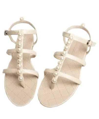 Beige With Pearl Slingbacks Flat Sandals