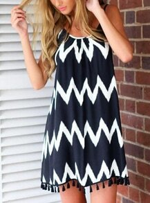 Navy Fringe Spaghetti Strap Zigzag Print Tassel Dress