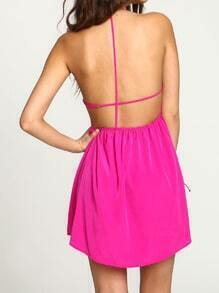 Rose Red Magenta Halter Open Back Dress