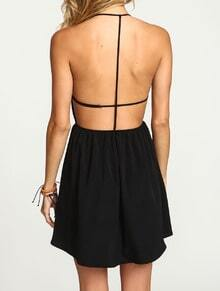 Black Halter Open Back Dress