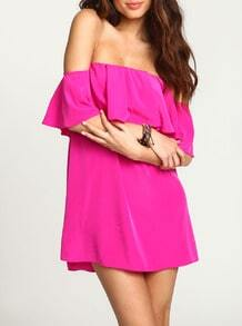 Rose Red Magenta Raspberry Boat Neck Ruffle Loose Tube Dress