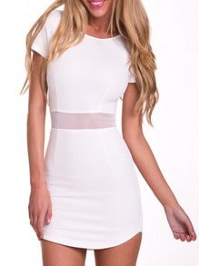White Short Sleeve Sheer Mesh Bodycon Dress