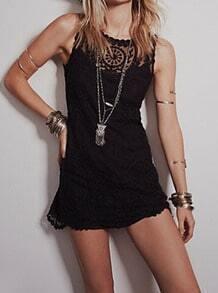 Black Sleeveless Mesh Lace Slim Dress