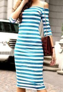 Blue White Boat Neck Striped Slim Dress