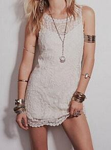 Apricot Sleeveless Mesh Lace Slim Dress