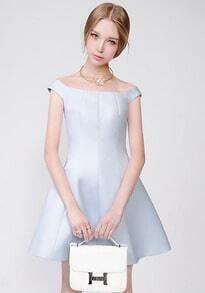 Light Blue Boat Neck Slim Flare Dress