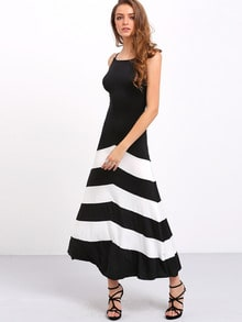 Black White Monochrome Evening Sleeveless Striped Ankle Length Dress
