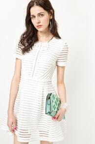 White Short Sleeve Hollow Striped Flare Dress