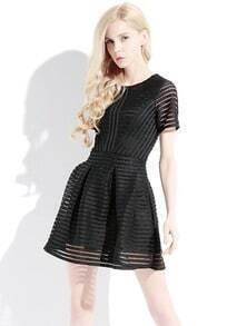 Black Short Sleeve Hollow Striped Flare Dress