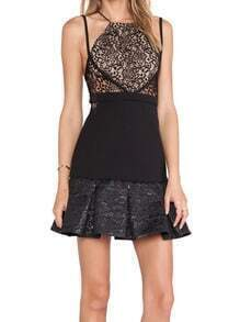 Black Criss Cross Back Hollow Eyelash Lace Dress