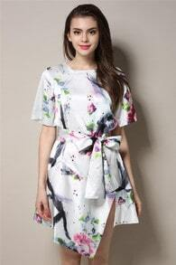 White Short Sleeve Floral Tie-waist Asymmetrical Dress