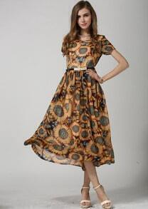 Yellow Short Sleeve Sunflower Print Belt Chiffon Dress