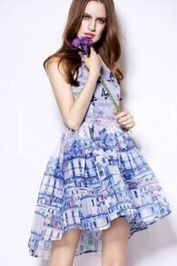 Blue Sleeveless Butterfly Print Organza Dress