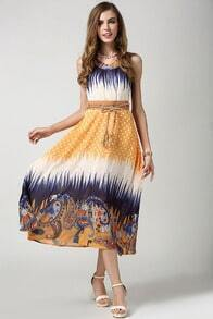 Yellow Sleeveless Belt Polka Dot Chiffon Dress