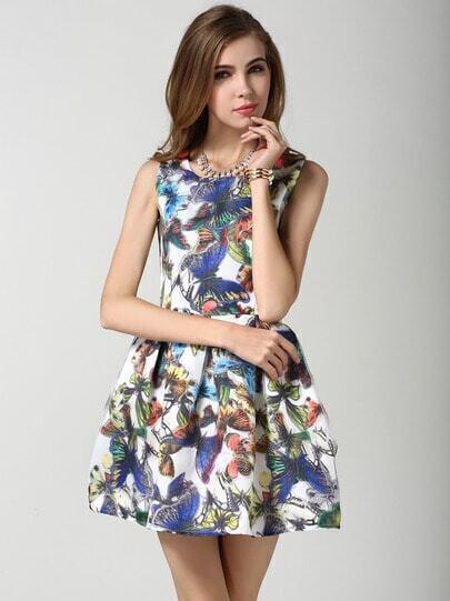 Multicolour Sleeveless Butterfly Print Flare Dress