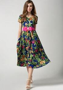 Blue Short Sleeve Floral Pleated Belt Chiffon Dress