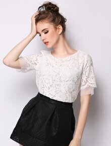 White Short Sleeve Lace Crop Blouse