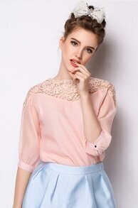 Pink Half Sleeve Lace Organza Blouse