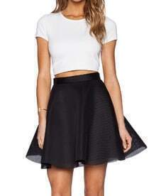 White Short Sleeve Slim Top With Black Mesh Skirt