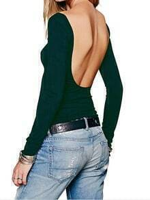 Green Long Sleeve Backless Slim T-Shirt
