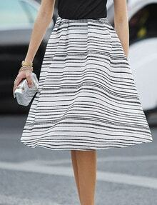 Black White Striped Chiffon Skirt