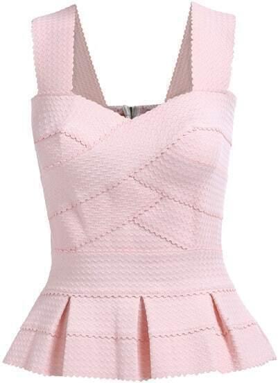 Pink Strap Ruffle Slim Top