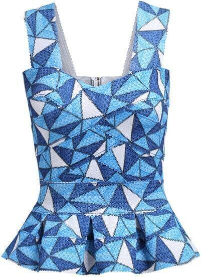 Blue Strap Geometric Print Ruffle Slim Top