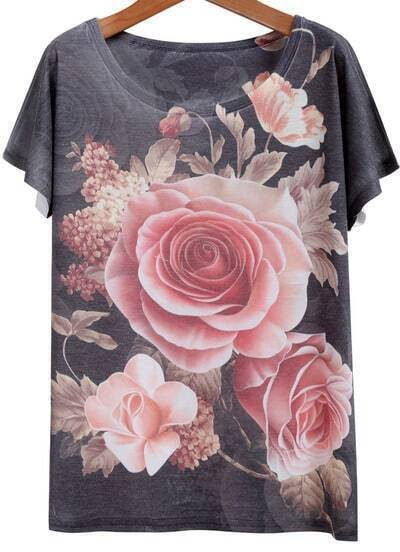 Grey Short Sleeve Rose Print Loose T-Shirt