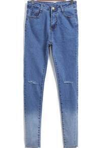 Blue Pockets Bleached Slim Denim Pant