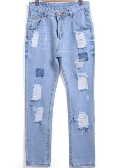 Blue Ripped Patch Denim Pant