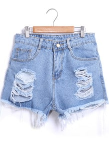 Ripped Frayed Hem Denim Shorts -SheIn(Sheinside)