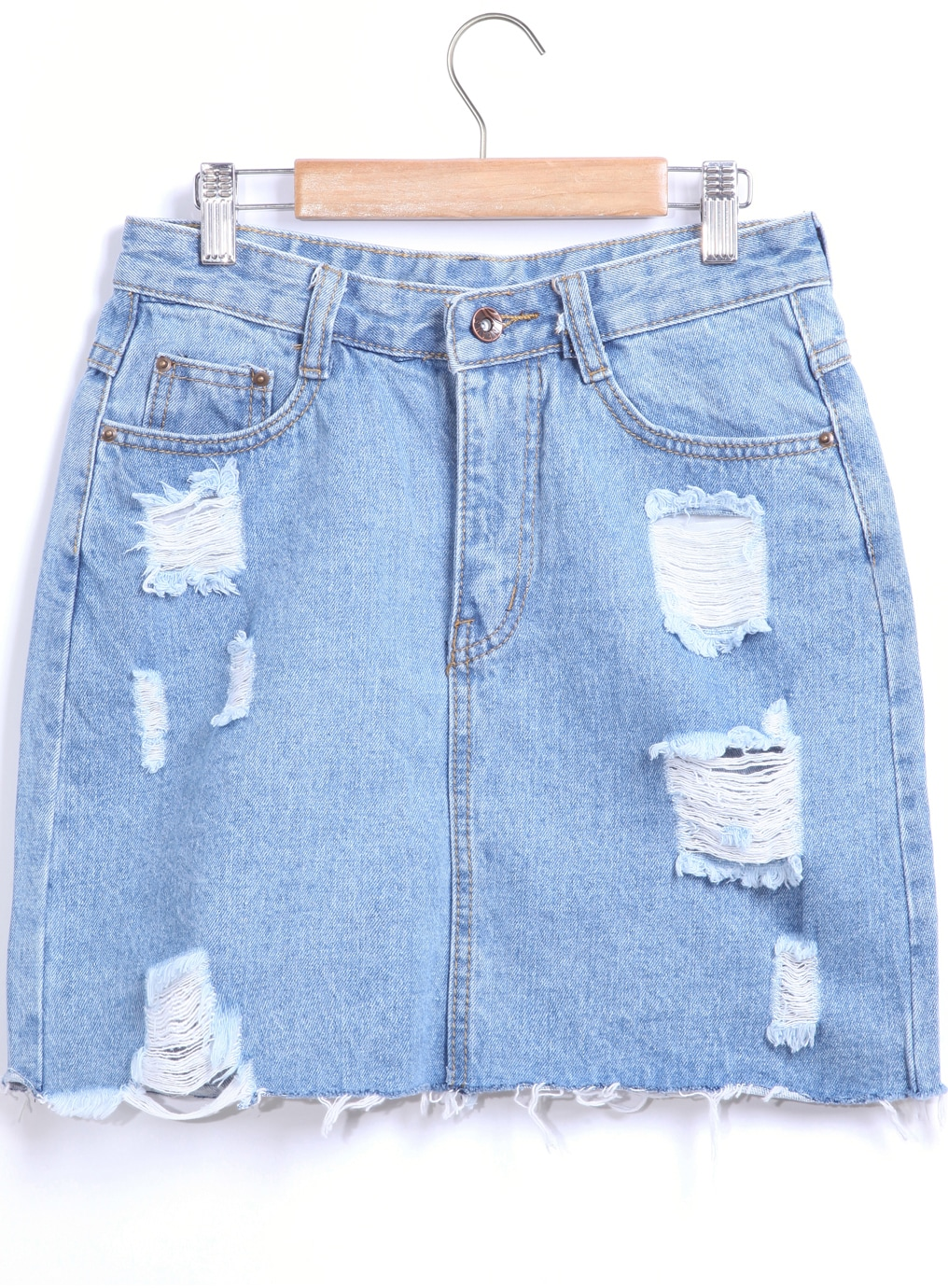 Blue Pockets Ripped Denim Skirt -SheIn(Sheinside)