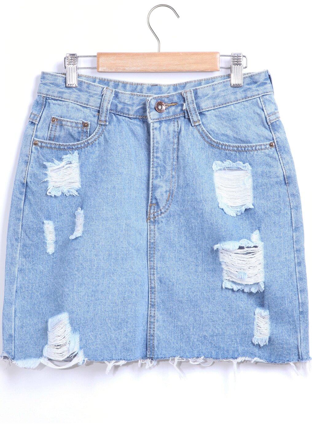 blue pockets ripped denim skirt shein sheinside