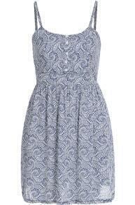 Blue Spaghetti Strap Floral Pleated Dress