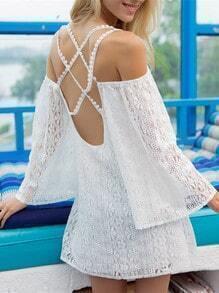 White Long Sleeve Cross Back Lace Dress