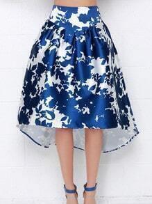 Blue High Waist Asymmetrical Skirt