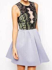 Light Purple Sleeveless Lace Flare Dress
