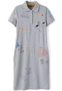 Grey Lapel Cartoon Embroidered Dress