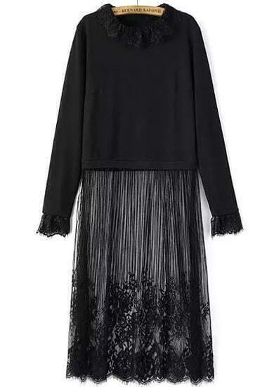 Black Long Sleeve Sheer Lace Fringed Dress