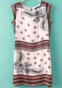 Pink Sleeveless Vintage Floral Slim Dress
