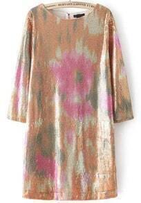 Gold Half Sleeve Straight Loose Dress
